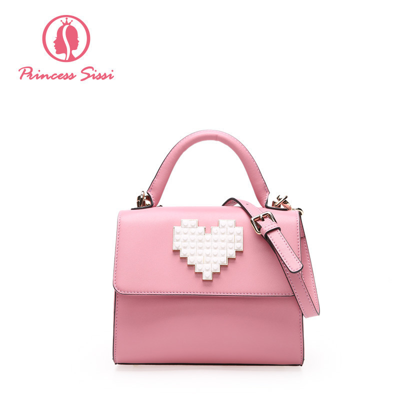 Princess Sissi Brand Heart Women Crossbody Bag 2017 Women Handbags Girls Bags Luxury Designer Girl Female Leather Messenger Bag<br>