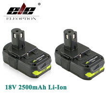 ELEOPTION 2x 18V 2500mAh Li-Ion Rechargeable Battery For Ryobi RB18L25 One Plus for power tool P103 P104 P105 P108