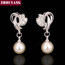 ZHOUYANG Top Quality ZYE166 Imitation Pearl Silver Color Stud Earrings Jewelry  Austrian Crystal Wholesale