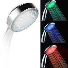 LED Smart Shower Hand-Held Head Water Temperature Control 3 Colors Light Bathroom Hand LED Shower Heads Romantic Automatic