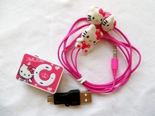 cheaper 10pcs Mini Hello Kitty clip MP3 Music Player+10pcs Hello Kitty Earphone+10pcs Mini USB card reader music player