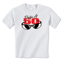 GILDAN man t shirt Rockin' At 50 Cool Sunglasses Happy 50th Birthday Fifty Mens T-Shirt