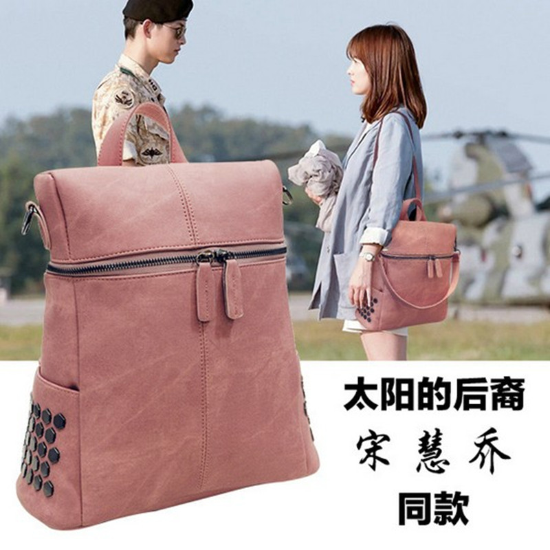 Descendants of the sun, Song Hye Kyo High Quality PU Leather women bags casual backpacks lady travel rivet bag bolsas femininas<br><br>Aliexpress