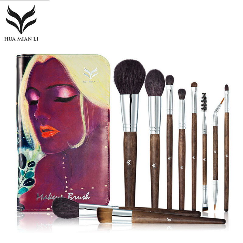 HUAMIANL Pro 10pcs Makeup Brush Set tools Top Quality Animal Hair Foundation Eyeshadow Cosmetic Brushes With Exquisite DIY Case<br>