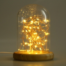 New USB LED Firework Light Glass Cover Table Night Lamp Wood Base Bedside Night Light Low Energy Baby Lamp Free shipping