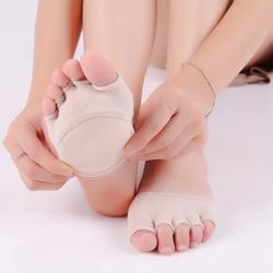 Yogis/женские носки из губчатого силикона с противоскользящей подкладкой с открытым носком, незаметный носок, Подушечка для ног, хлопковые но...