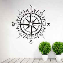 Wall Sticker Compass Wall Art Vinyl Decal Decals Ocean Navigation Removable Home Decor Living Room Wall Stickers Wholesale(China)