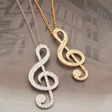 New Arrival Full Rhinestone Music Note Long Necklaces Fashion Women Jewelry Flash Crystal Sweater Chain Factory Direct Sales