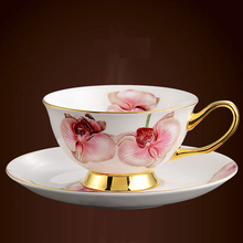Streaky Maou Style Coffee Cup Bone China Coffee Cup And Saucer, Tea Cup Suit British Ceramics Phnom Penh Flower, Free Shipping!