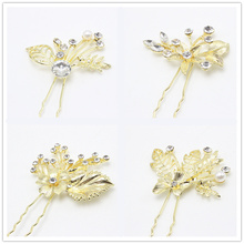 10pcs Rhinestone Simple Hairpin Brides  Hair Pins Clips Crystal Hair Combs Wholesale  Gold  Hair Jewelry  Accessories C608