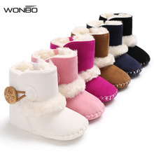 Winter Baby Boots Girls Boys First Walkers Infant Toddler Newborn Super Warm Snowfield Wooden Buttons Booty Rubber Soled Shoes(China)