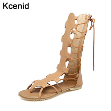 Kcenid big size34-48 new gladiator sandals women cross-tied shoes fashion cut-outs back zip knee high summer women sandals boots(China)
