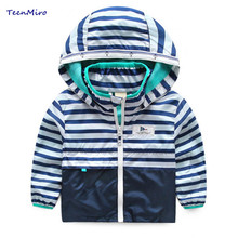 Kids Striped Toddler boys Jackets Spring Autumn Hooded Coat Clothes For Children Outerwear Blazer Minnie Baby Boy Windbreaker(China)