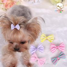 10 piece/Lot Newest Dog Accessories Streak printing Dog Bows Puppy Ribbon hairpin Dogs Hair Accessories Pet Supplies PY360