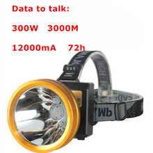 Frontale lampe LED Mining Light 300W 12000mA Rechargeable Waterproof Head Light Torch for Outdoor Fishing/Camping/Hunting/Mining(China)