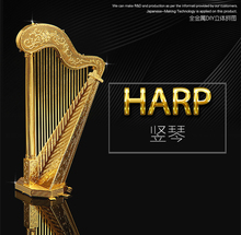 Chinese Metal Earth ICONX 3D Metal model kits 9 inch Musical Instruments HARP 1 Sheets Military Nano Puzzles DIY Creative gifts