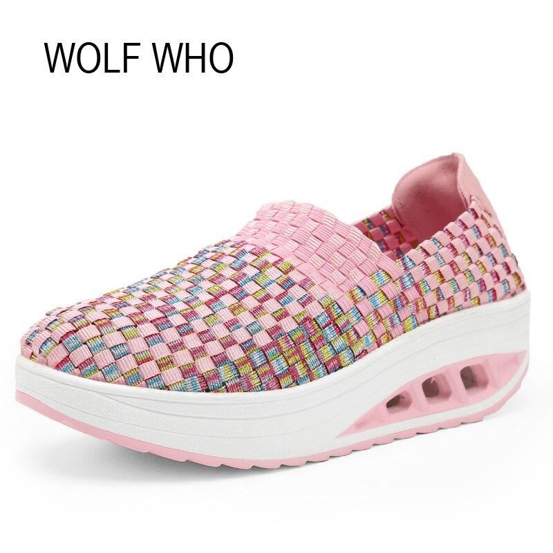 WOLF WHO 2017 Summer Women Krasovki Slipony Ladies Platform Shoes Female Superstar Tenis Feminino Casual Basket Femme x269<br>