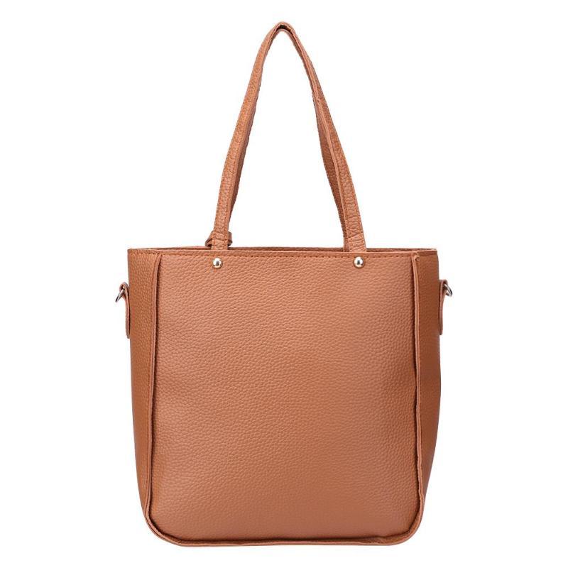 camel Pu Lychee Pattern Female Shoulder Bag Backpack Soft Surface Pure Color Portable Handbags Sports & Outdoor Backpacks