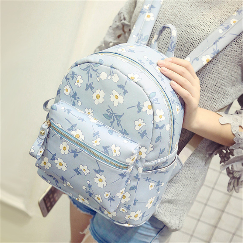New Summer Cute Backpack Printed Flower Girl School Bags PU Leather Leisure Traveling Small Bags Free Shipping BP0024<br><br>Aliexpress