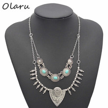 Olaru Jewelry Brand New Metal Choker Necklace long Chians Multi-layer Punk Retro Statement Necklaces Fasion accessories(China)