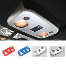 Car Styling Top Reading Lights Trims Panel Covers Interior Moulding ABS For Ford Mustang 2015 Up Free Shipping Red Blue Silver(China)