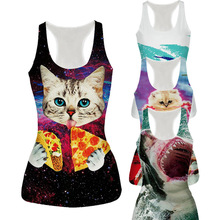 Raisevern New Womens Tank Top Vest Pizza Cat/Shark/Poker/Lion 3D Printed Fashion Sleeveless T-shirt Camisole 21 Styles Dropship(China)