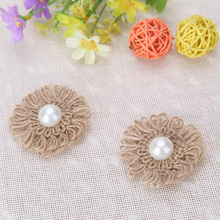 10pcs/lot Natural Jute Flower Burlap Hessian Flower with Artificial Pearls Vintage Wedding Navid Favor Rustic Decoration(China)