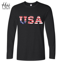 HanHent High Quality Autumn New Long Sleeve T shirts Men 2016 American Flag T shirt Jersey Men USA Clothing Breathable Drop ship