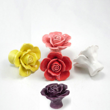 Various Colors Ceramic Rose Handles Kitchen Cabinet Knobs Handles Dresser Closet Kids Bedroom Furniture Knob