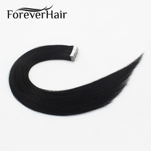"FOREVER HAIR 2.0g/pc 18"" Remy Tape In Human Hair Extension Jet Black #1 Straight European Hair Tape Skin Weft Hair Extensions"