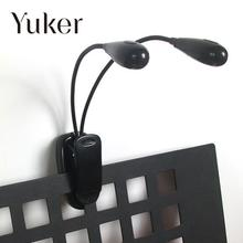 Yuker  Flexible Dual 2 Arm 8 LED Clip-On Light Lamp For Piano Orchestra Music Stand Book Reading On Bed Study Desk Laptop Black