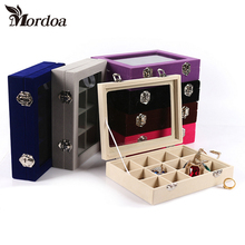 Mordoa 12 Grids Black Rose Red Velvet Jewelry Box Rings Earrings Necklaces Makeup Holder Case Organizer Women Jewelery Storage(China)