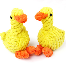 2PCS New Portable Dog Knot Cartoon Duck Pet Puppy Rope Dog Cotton Chew Toy Ball Play