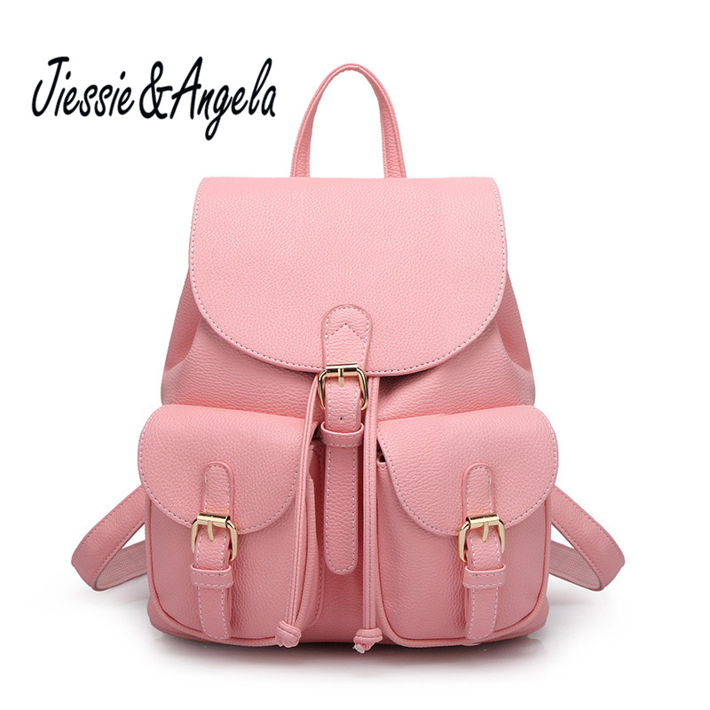 Jiessie &amp; Angela High Quality Candy Color Female Luxury Design PU Leather Backpacks 2017 Casual Travel Backpacks Teenage Girls<br>