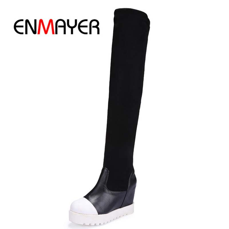 ENMAYER New Autumn boots Winter knee boots Women fashion boots Wedges Platforms Flock Solid  Black Sexy Mixed colors long boots<br><br>Aliexpress