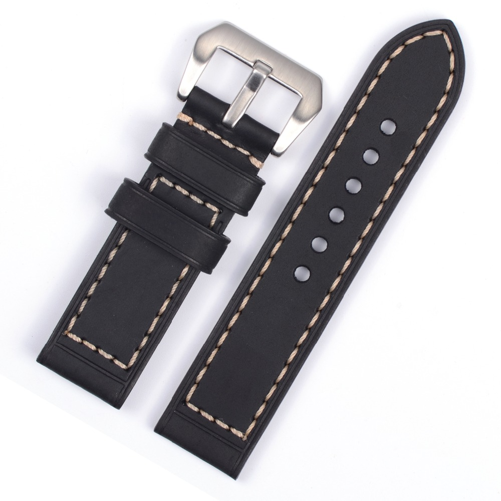 Vintage Genuine Leather Watchband High Quality Genuine Leather Watch Straps For PAM Watch Black<br><br>Aliexpress