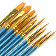 10Pcs Watercolor Round Pointed Acrylic Tip Nylon Hair Artists Paint Brush Set Drop Ship(China)