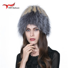 Russian Fox Fur Hat Beanies Real Fur Pompom Hat Natural Raccoon Fur Knitted Lined Beanie Headdresses for Women's Hats Cap W#11