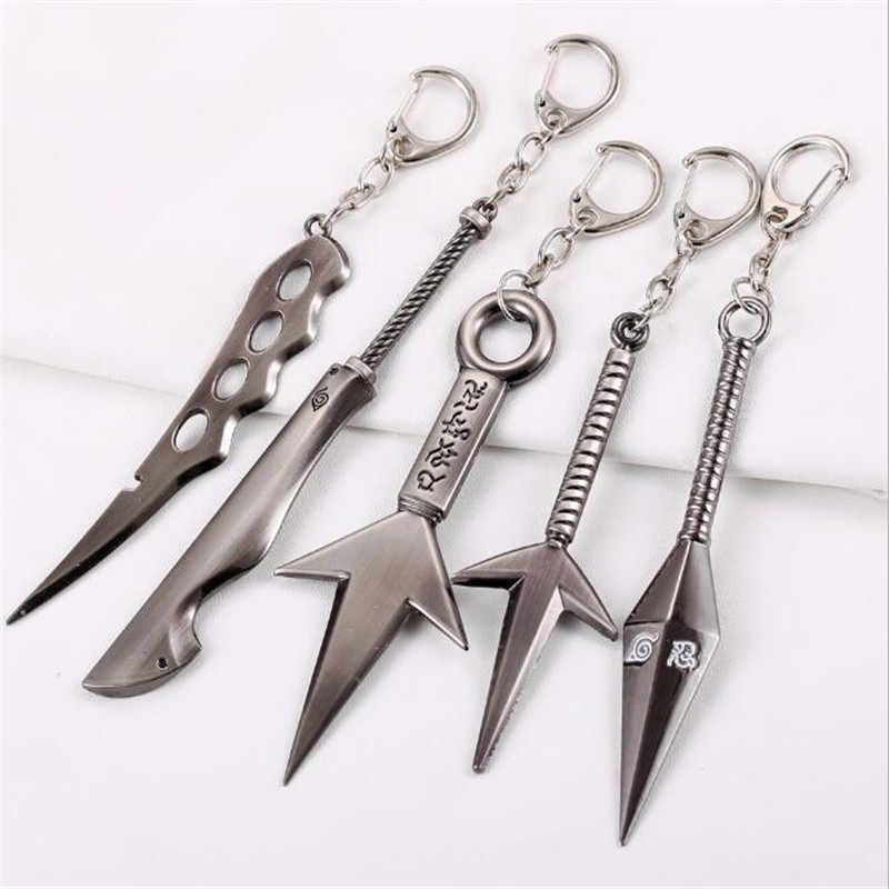 Naruto Keychain Sasuke Uchiha Kunai Weapon Sword Spear Key Chain Key Ring Figure For Men Car Toy A889