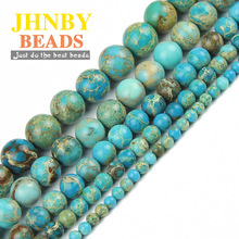 JHNBY Blue Imperial pine kallaite Natural Stone Round Loose beads ball 4/6/8/10/12MM Jewelry bracelet Accessories Making DIY