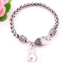 Fashion antique sliver plated big weight KETTLE BELL sporty pendant charm bracelet(China)