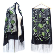 Limit Quanity Burnout Scarf Luxury brand Gren Tulip Vlevet Women Shawl Scarves Winter Pashmina Fashion Long Wrap Dress Accessory(China)