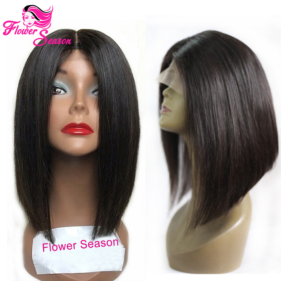 Middle Part Short Lace Front Bob Wigs Virgin Brazilian Straight Human Hair Bob Lace Wigs For Sale Natural Color In Stock<br><br>Aliexpress