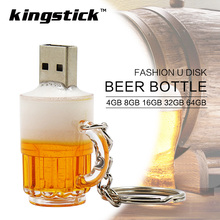 Kingstick USB Flash Drive 8GB 16GB 32GB 64GB 4GB USB 2.0 Pen Drive Memory Flash BEER bottle model Pendrive Stick(China)