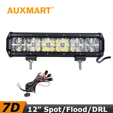 Auxmart 7D LED Work Light 12 inch 120W CREE Chips Flood/Spot Beam Cross DRL Light Fit Truck RZR ATV 4x4 Tractor