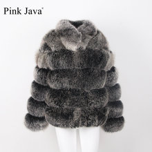 Pink Java QC8139 2017 new arrival fahion women thick fur coat real fox fur jacket long sleeves ganuine fox outfit hot sale(China)