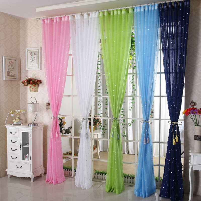 Voile Sheer Curtains for Living Room Silver Star Stamping Transparent Kids Room Delicate French Window Terylene Cortinas P234C