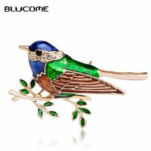 Blucome Enamel Bird Brooch Gold-color Crystal Hat Shoulder Accessories Clothes Backpack Badge Animal Wedding Women Brooches Pins(China)