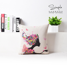 Personality Girl Flowers Pattern Linen Cotton Wholesaler Pastoral Sofa Bedroom Headrest Cushion For Automobile