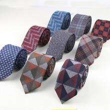 Soft Mens Fashion Diamond Check Artificial Wool Cotton Striped Skinny Tie Men business Small Ties Designer Cravat Dark Color(China)
